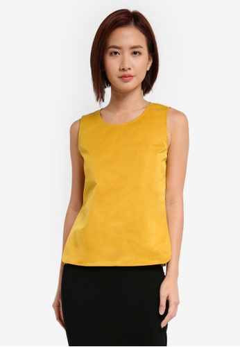 ZALORA yellow Sleeveless Top With Pleat Insert 3EE1DAA45E0248GS_1