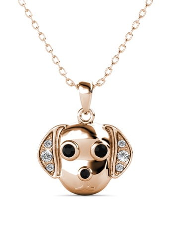 Her Jewellery gold Beagle Pendant (Rose Gold) -  Embellished with Crystals from Swarovski® EF908ACA8D17F1GS_1