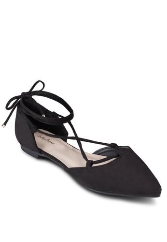 交叉繫帶繞踝尖頭平底esprit outlet hong kong鞋, 女鞋, 鞋
