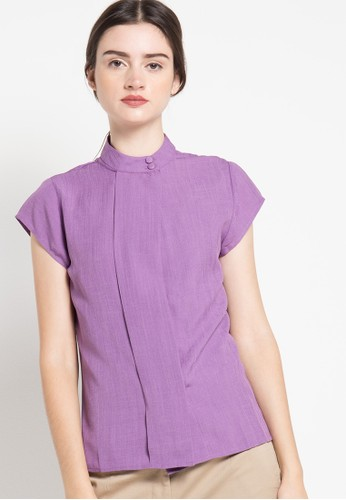 EDITION purple Linen Blouse ED101AA81RJQID_1