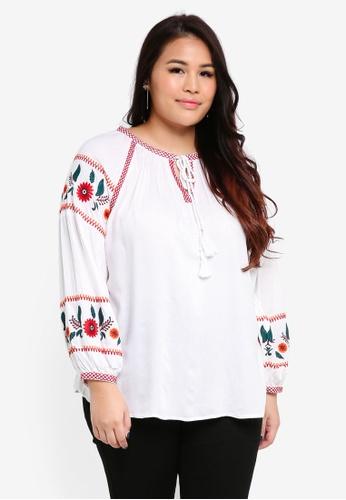 Dorothy Perkins white Plus Size Embroidered Boho Tassel Top C2998AA8F77E2EGS_1
