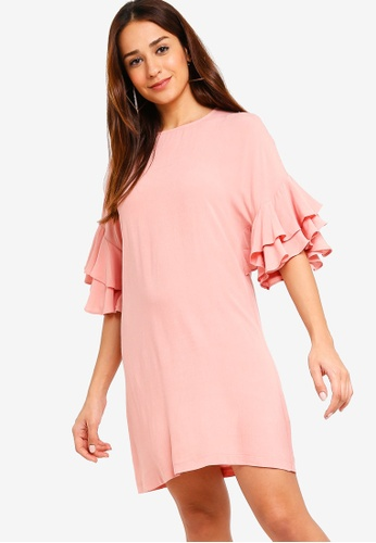 ZALORA 粉紅色 Ruffle Sleeves Dress 833C8AAE50BDD7GS_1