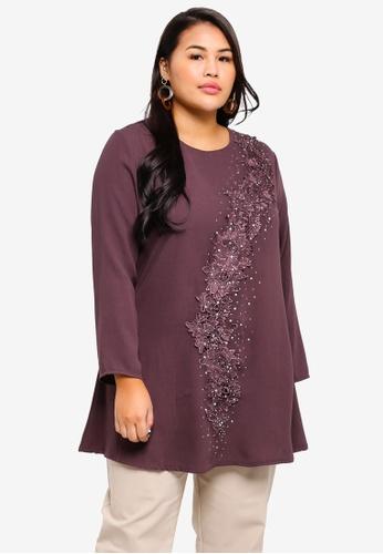 BYN purple Plus Size Muslimah Blouse A3A32AA83DB754GS_1