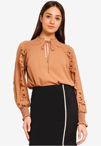 bYSI brown Laser Cut Detailed Blouse 10F96AA502853EGS_1