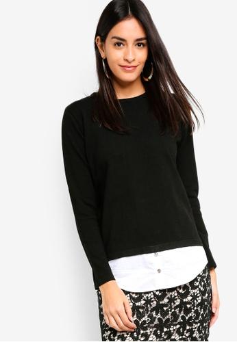 ZALORA black 2-In-1 Shirt Jumper 78528AAF49B79FGS_1