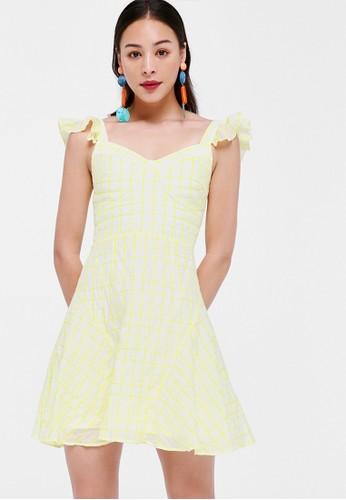 Love, Bonito yellow Chelsea Flutter Sleeve A-line Dress 02FFDAA6020677GS_1