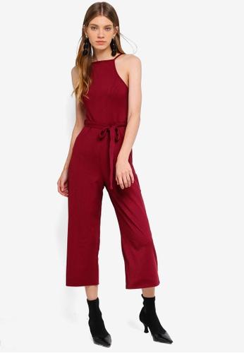 Miss Selfridge 紅色 Rib Culotte 90S Neck Jumpsuit Berry C614BAAE0696AFGS_1