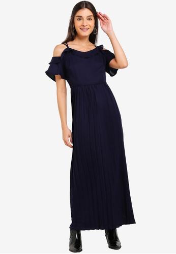 ZALORA navy Cold Shoulder Pleated Dress 8192AAA4C4E138GS_1