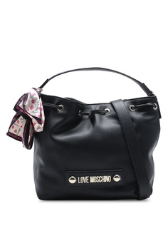 3deefa5df891a Love Moschino black Shoulder Bag with Decorative Scarf 257CBAC25C95A1GS_1