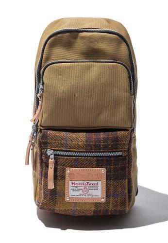The Earth brown Harris Tweed Sling Bag - Mustard TH224SE38CAZSG_1