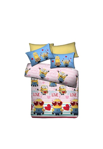 AKEMI pink and yellow and blue Akemi Minions Looking for Love Fitted Sheet Set. D1FF3HLCB252F2GS_1