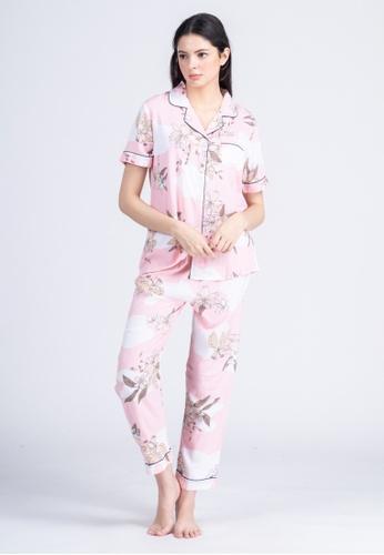 FEMINISM pink Cotton Shortsleeve Pajama 5A120AA272B24AGS_1