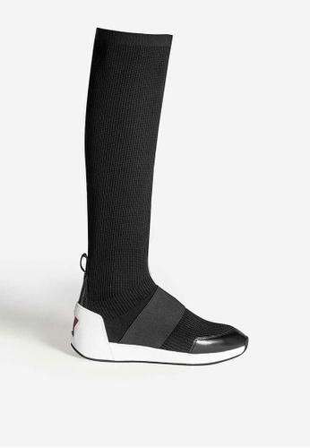 ASH black Jezebel - Black Knit Knee-High Boots B4451SHDB6877FGS_1
