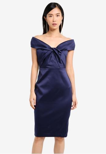 Goddiva navy Bardot Midi Dress With Twisted Neckline GO975AA0SSBWMY_1