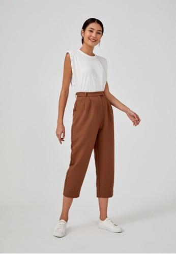Love, Bonito brown Barra Textured Peg Leg Pants 21292AAA312BC1GS_1