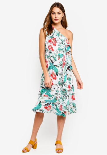 Brave Soul green and multi All Over Printed One Shoulder Dress 5483FAA46D6F0AGS_1