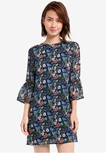 ZALORA multi Fluted Sleeves Shift Dress CBCEAAAD26787CGS_1