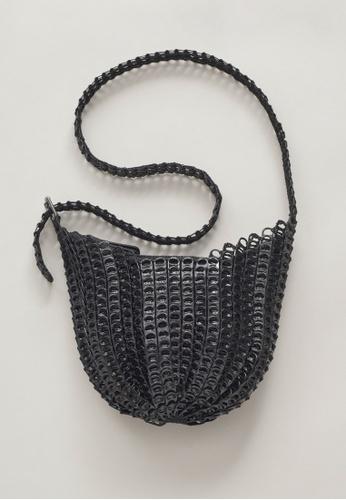 Bottletop black Bottletop® Bellani Mini Black Recycled Aluminium Pull Rings black crocheted Shoulder Bag E64C5ACB40C453GS_1