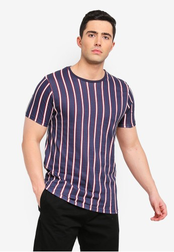 Brave Soul navy Cript All Over Stripe T-Shirt 1835BAA04FC8C2GS_1
