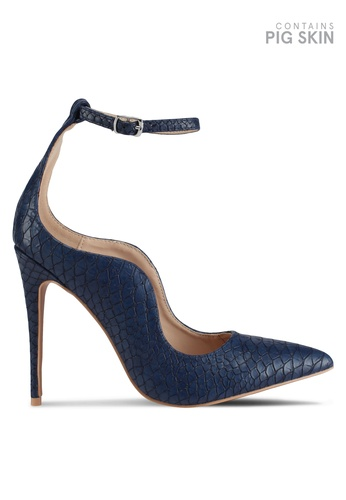 LOST INK blue Palm Curved Ankle Strap Court Heels BD798SHE1B15F5GS_1