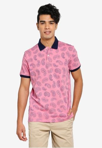 Gay Giano pink Extra Fine Paisley Print Mercerised Polo 6E8BFAA5A6722BGS_1