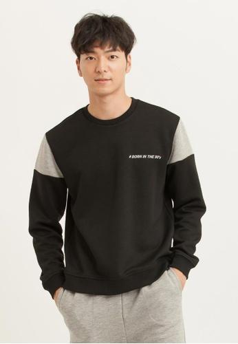 H:CONNECT black Letter Print Long Sleeves T-Shirt 53E34AAE22E2E9GS_1