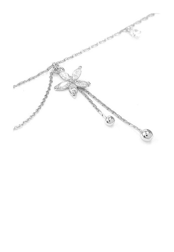 Glamorousky purple Elegant Flower Anklet with Silver Austrian Element Crystals 6AAAEAC1B38CD3GS_1