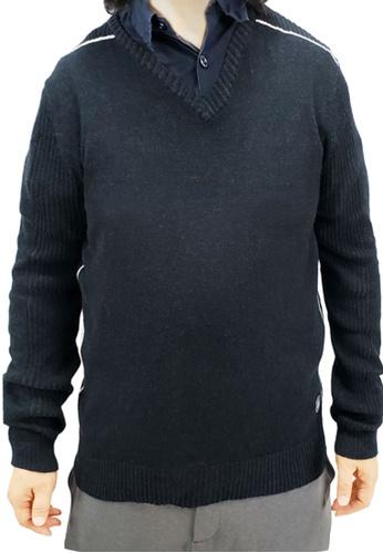 East Pole black Men's V-neck Cotton Cashmere Sweater F1DB3AA73CE5ECGS_1