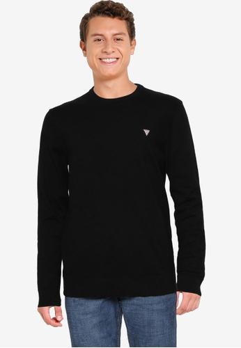 GUESS black Jarrett Long Sleeve Crew Sweater 70B14AA5F5E778GS_1