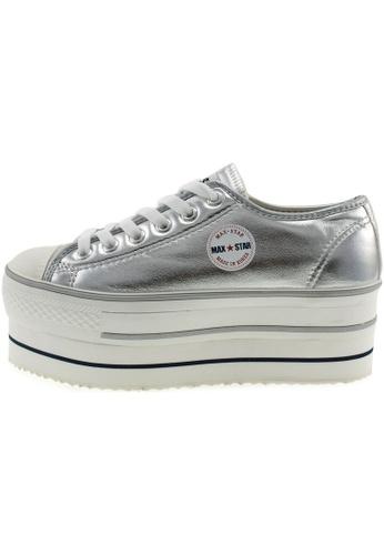 Maxstar 銀色 新款韩国鞋CN9-6H-TC時尚皮革布混合女銀色 US Women Size MA345SH77HFQTW_1