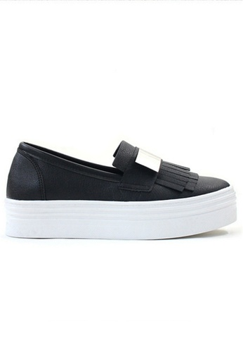 Crystal Korea Fashion black Korea Tassel Design Thick Platform Slip-Ons F2D58SH571B72BGS_1