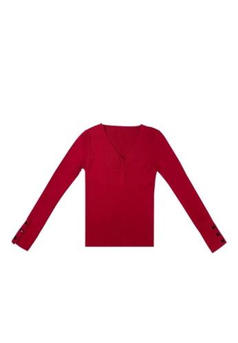 DRUM red COMFY LONG SLEEVE KNITWEAR- MAROON F2B1FAA930A562GS_1