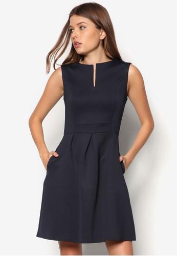 開衩領傘擺連身裙, 服飾zalora是哪裡的牌子, 正式洋裝
