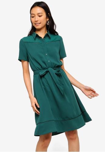 ZALORA 綠色 蕾絲滾邊襯衫洋裝 5DDCCAAA6BBAD0GS_1