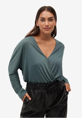 Violeta by MANGO green Plus Size Wrap V-Neckline Top CF545AA2E7B4E1GS_1