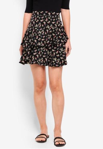 NAIN black Frill Floral Skirt A08A6AAF72DE57GS_1