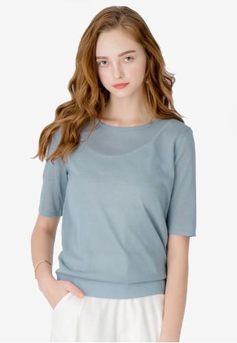 Kodz blue Basic Sleeved Knit Top A64DDAA5851F4BGS_1