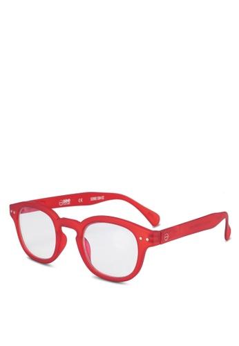 Izipizi 紅色 圓框太陽眼鏡 D8206GLDD268E5GS_1
