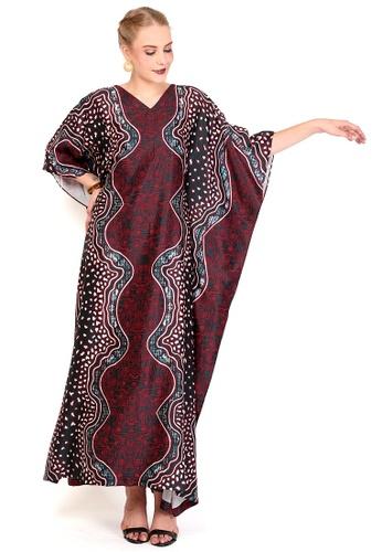Kanzi by liza yahya red Kanzi Exclusive Short Sleeve Batik Kaftan 62C9FAA3BB6A41GS_1
