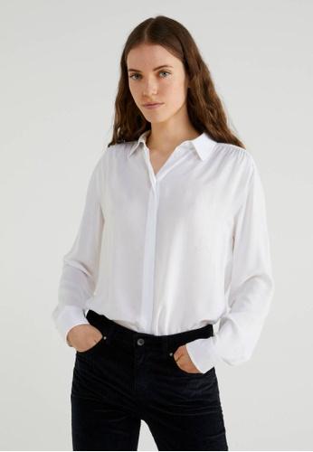 United Colors of Benetton white Viscose Shirt C7F81AADE214E1GS_1