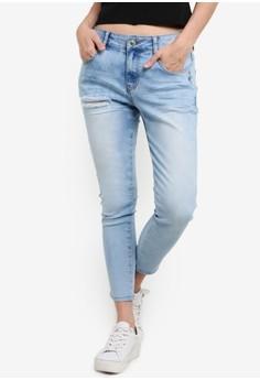 【ZALORA】 磨損裁短緊身牛仔褲