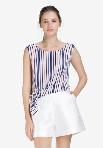Hopeshow multi Mid Riff Sleeveless Blouse with Color Stripes 9F6A1AA5E3964CGS_1