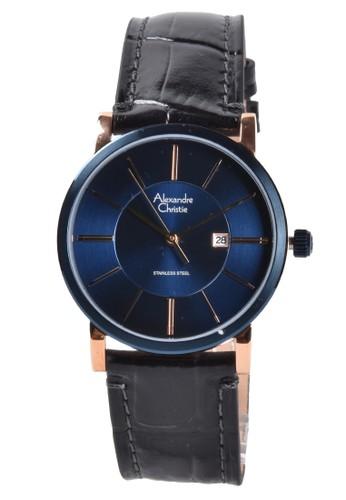 Alexandre Christie black Alexandre Christie - Jam Tangan Wanita - Rosegold Blue - Black Leather Strap - 8344LDLURBU 065B6AC83544F6GS_1