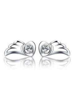 【ZALORA】 LFF5209-LYCKA-S925 銀飾天使翅膀心形白色鋯石耳環-銀色