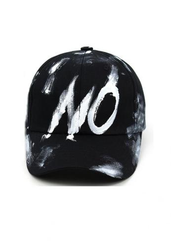 M-Wanted black M. All Over Paint Smudge Baseball Cap MW173AC68QOTSG_1