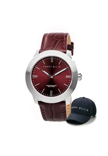 Perry Ellis brown Perry Ellis Slim Line Unisex 42mm Quartz Watch 07003-01 with Perry Ellis Cap 6A973AC8C16615GS_1