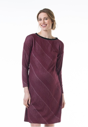 Bove by Spring Maternity red Knitted Long Sleeved Colette Bateau Neck Dress Maroon 3D852AACA12A60GS_1