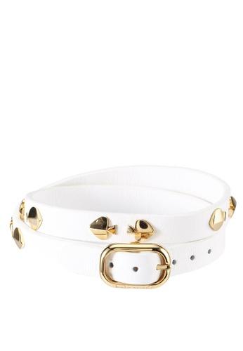 kate spade new york white Studded Leather Wrap Bracelet (cv) E083EACF9D0E4FGS_1