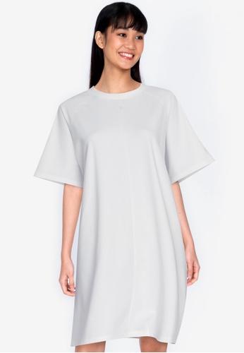 ZALORA BASICS white Boxy Raglan Shift Dress A5DC4AA7CB421FGS_1