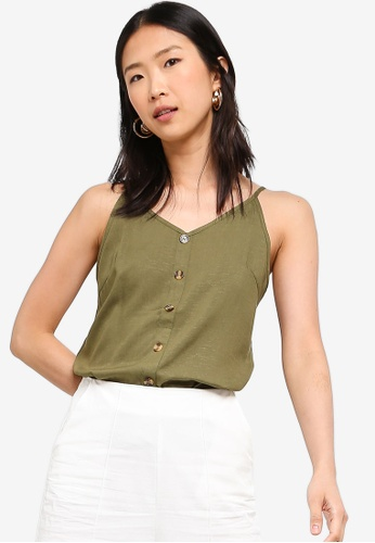 ZALORA BASICS green Basic Button Down Cami Top FE1FBAA2F21B13GS_1